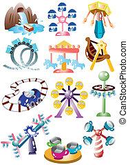 cour de récréation, ensemble, dessin animé, icône
