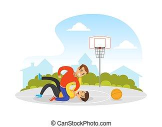 cour de récréation, garçons, deux, entre, agression, concept, violence, vecteur, enfants, basket-ball, illustration, combat