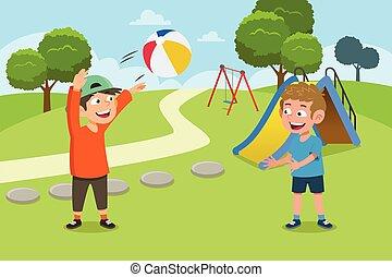 cour de récréation, gosses, balle, illustration, jouer
