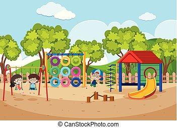 cour de récréation, jouer, journée, enfants