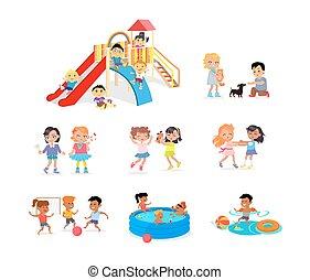 cour de récréation, ou, temps, piscine, dépenser, enfants