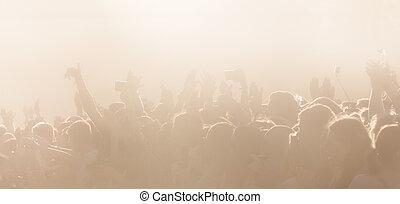 cour de récréation, ouvert, concert, foule, gens