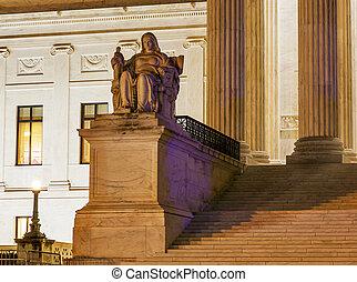 cour suprême, capitole, washington dc, nous, colline, statue