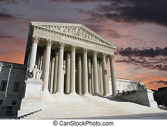 cour suprême, washington, ciel, dc, aube