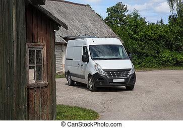 cour, village, minibus