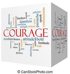 Courage 3D cube Word Cloud Concept