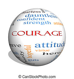 Courage 3D sphere Word Cloud Concept