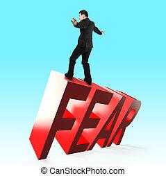 courage, adversity., peur, concept, surmonter