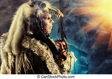 courage - Ancient warrior Barbarian. Ethnic costume....