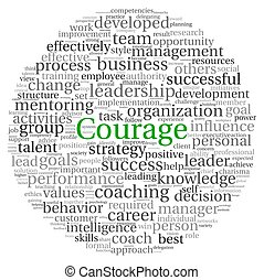 Courage concept in word tag cloud on white background