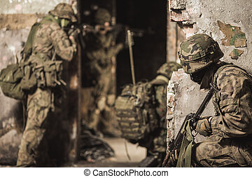 Courage is their virtue - Group of soldiers wearing military...