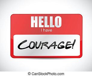 courage name tag illustration design