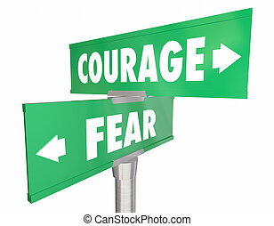 Courage Vs Fear 2 Two Way Street Road Signs 3d Illustration