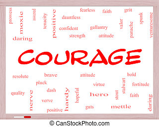 Courage Word Cloud Concept on a Whiteboard
