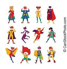 courageux, collection, super, superheroes., fort, enfants, tight-fitting, vecteur, costumes, style., capes., gosses, illustration, powers., dessin animé, filles, plat, paquet, ensemble, garçons, porter