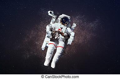 courageux, meublé, ceci, image, spacewalk., nasa., éléments, astronaute