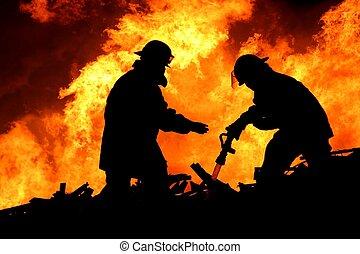 courageux, pompiers, dans, silhouette