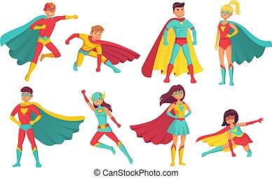 courageux, superpowers., characters., vecteur, superheroes, ...