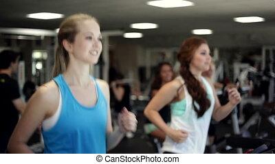 courant, arrêt, treadmill.