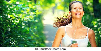 courant, beauté, sportif, girl., parc, écouteurs, femme, jogging, jeune