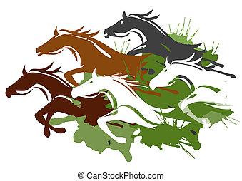 courant, chevaux