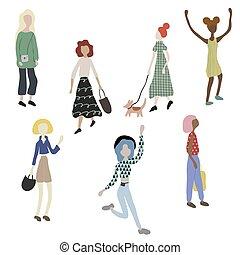courant, chien, marche, caractères, debout, white., isolé, danse, shopping., gens, foule, femme