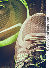 courant, closeup, chaussures