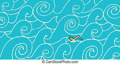 courant, contre, natation