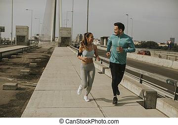 courant, couple, jeune, urbain, enviroment
