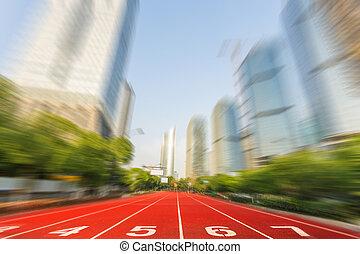 courant, course, ligne, dans, moderne, route ville, à, cityscape, comme, fond, business, concurrence, concept.