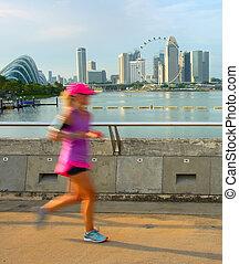 courant, dans, singapour, à, coucher soleil