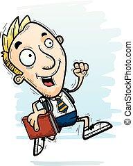 courant, dessin animé, étudiant, homme