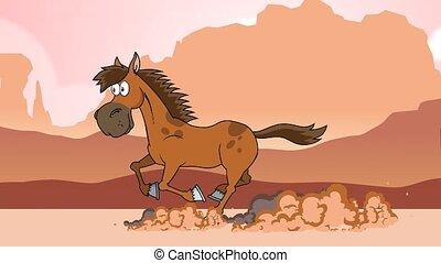 courant, dessin animé, cheval, caractère
