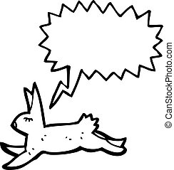 courant, dessin animé, lapin