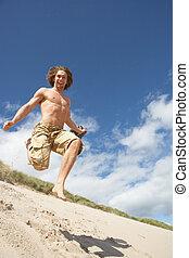 courant, dune, jeune, bas, plage sable, homme