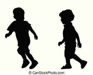 courant, enfants, silhouettes, deux