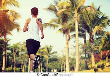 courant, extérieur, joggeur, fitness