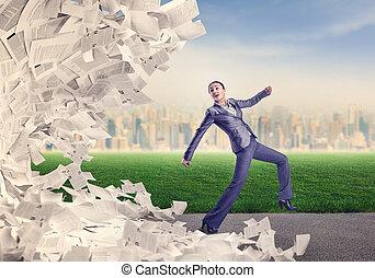 courant, femme, papiers