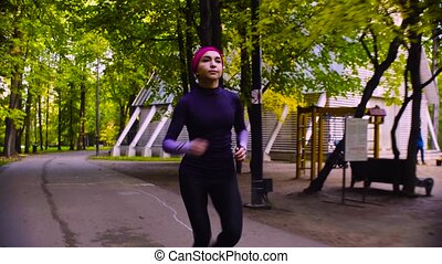 courant, femme, park., jeune, fitness