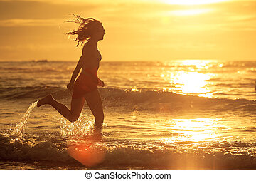 courant, femme, plage, aube, temps