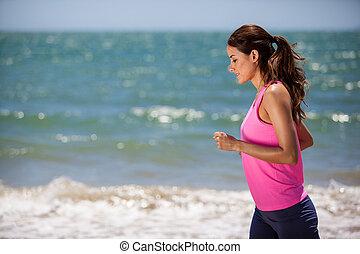 courant, femme, plage, jeune