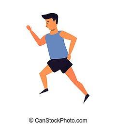 courant, fitness, isolé, dessin animé, homme