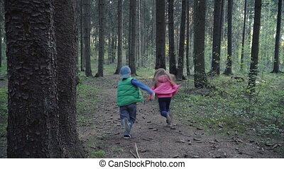 courant, forêt, enfants