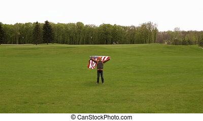 courant, garçon, peu, drapeau, usa