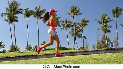 courant, girl, -, parc, été, jogging, femme, vivant, actif