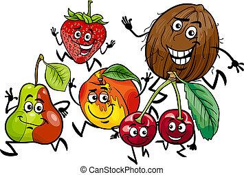 courant, groupe, dessin animé, illustration, fruits
