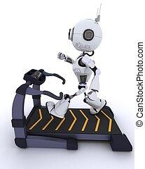courant, gymnase, robot, tapis roulant