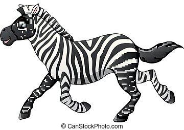 courant, heureux, dessin animé, zebra