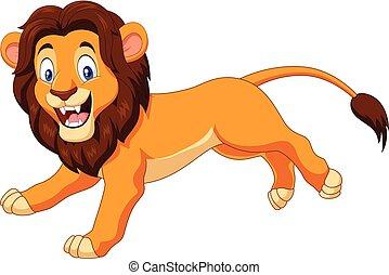 courant, heureux, lion, dessin animé