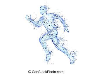 courant, homme, liquide, typon, -, athlète, figure, dans mouvement, fait, de, eau, à, tomber, gouttes